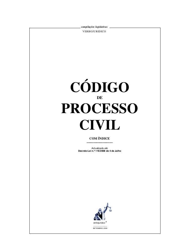 compilações legislativas    VERBOJURIDICO CÓDIGO          DEPROCESSO  CIVIL         COM ÍNDICE        ————————            ...