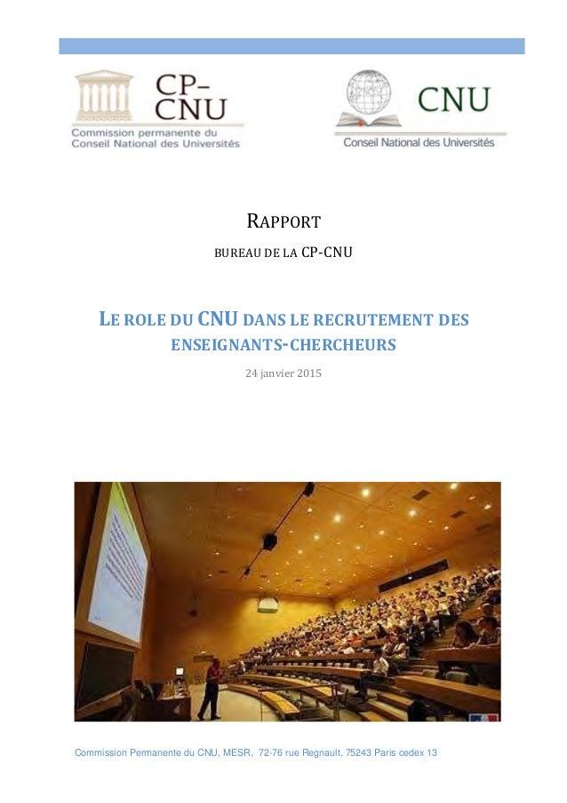 Commission Permanente du CNU, MESR, 72-76 rue Regnault, 75243 Paris cedex 13     RAPPORT BUREAUDELACP‐CNU  LER...