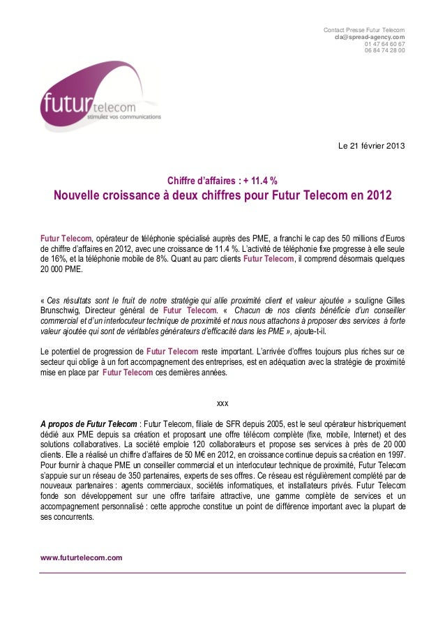 Communiqué de presse croissance futur telecom 2012