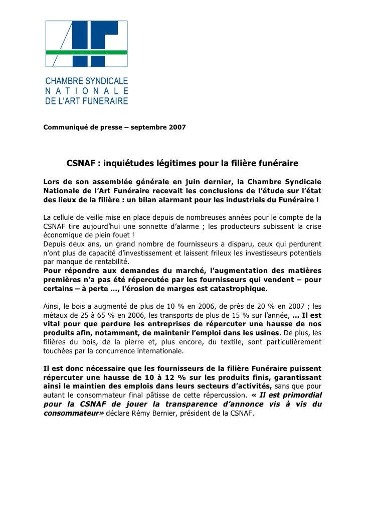 CSNAF : inquiétudes légitimes pour la filière funéraire