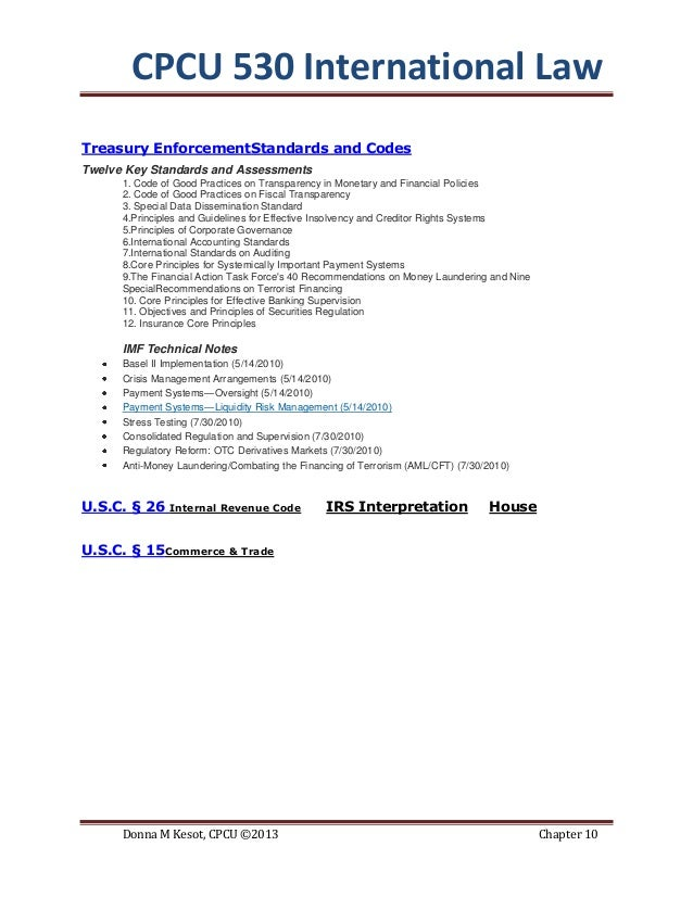 Cpcu 530 chapter 10 international law