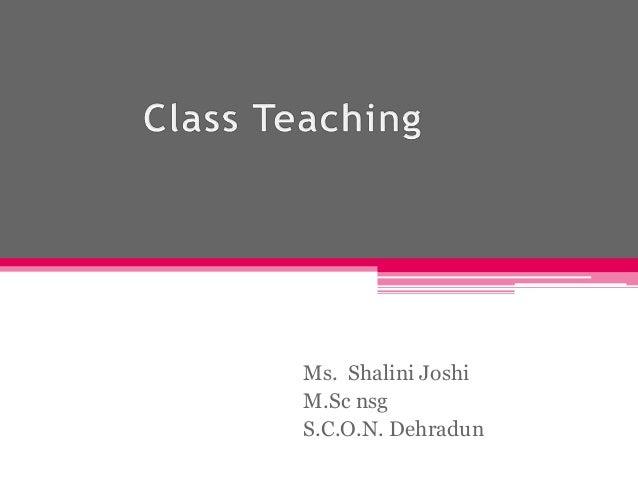 Ms. Shalini Joshi M.Sc nsg S.C.O.N. Dehradun