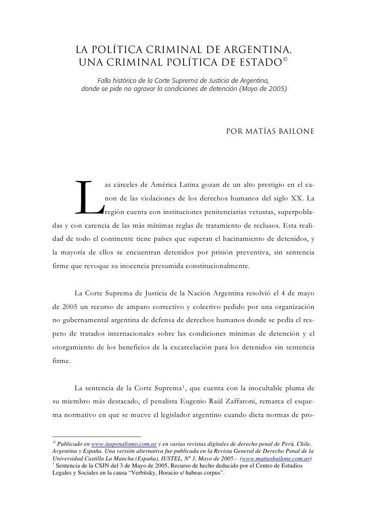 La política criminal de Argentina,           una criminal política de estado©                Fallo histórico de la Corte S...