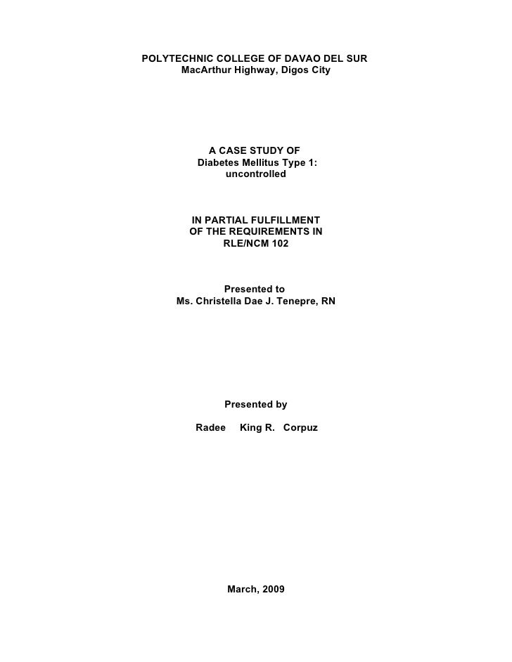 POLYTECHNIC COLLEGE OF DAVAO DEL SUR       MacArthur Highway, Digos City                A CASE STUDY OF          Diabetes ...
