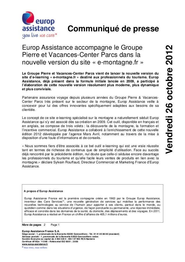 Communiqué de presseEurop Assistance accompagne le Groupe                                                                 ...