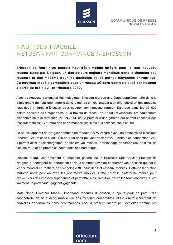 Haut Débit Mobile : Netgear fait confiance à Ericsson - Communiqué de Presse - Février 2010