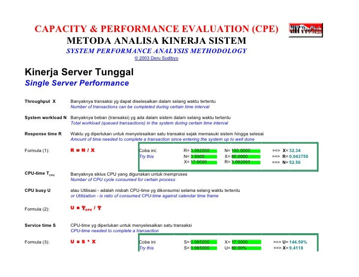 Computer Capacity & Performance Evaluation Sheets
