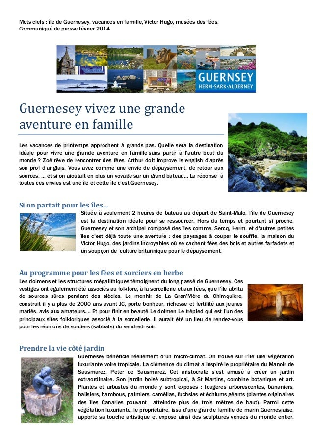Mots clefs : île de Guernesey, vacances en famille, Victor Hugo, musées des fées, Communiqué de presse février 2014  Guern...