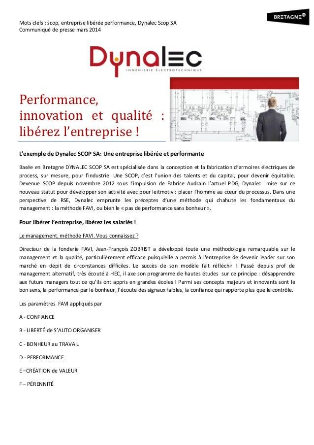Mots clefs : scop, entreprise libérée performance, Dynalec Scop SA Communiqué de presse mars 2014 Performance, innovation ...