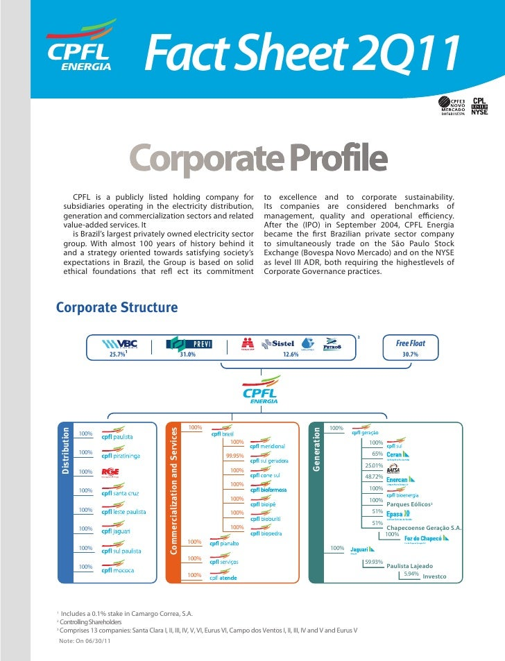 Fact Sheet 2Q11                             Corporate Profile        CPFL is a publicly listed holding company for        ...