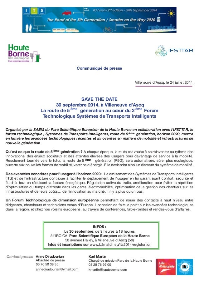 SAVE THE DATE 30 septembre 2014, à Villeneuve d'Ascq La route de 5 génération au cœur du 2 Forum Technologique Systèmes de...
