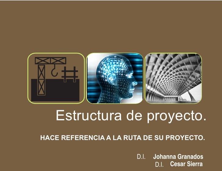 G      Estructura de proyecto. HACE REFERENCIA A LA RUTA DE SU PROYECTO.                          D.I.   Johanna Granados ...