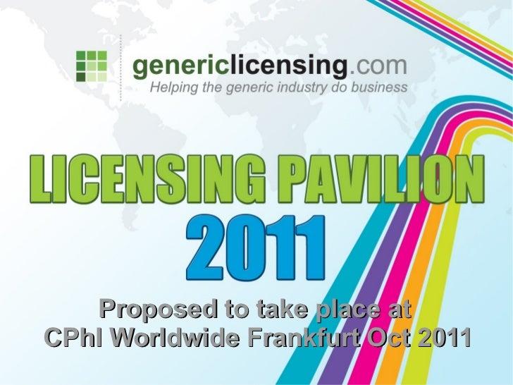 Proposed to take place atCPhI Worldwide Frankfurt Oct 2011