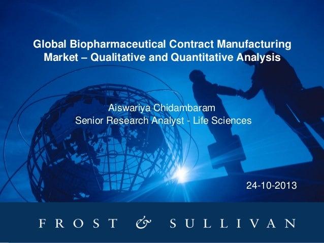 Global Biopharmaceutical Contract Manufacturing Market – Qualitative and Quantitative Analysis  Aiswariya Chidambaram Seni...
