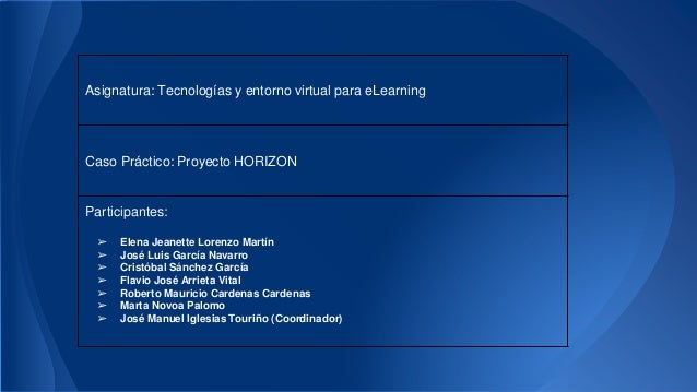 Asignatura: Tecnologías y entorno virtual para eLearning  Caso Práctico: Proyecto HORIZON  Participantes:  ➢ Elena Jeanett...