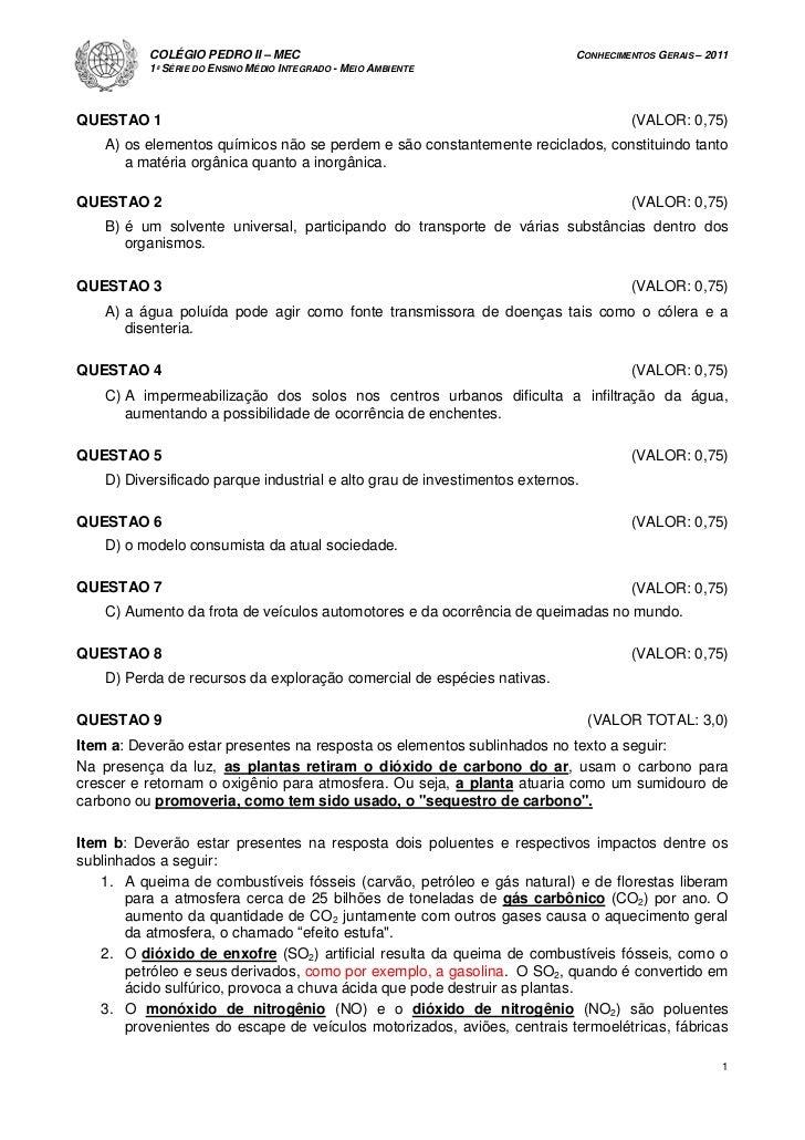 COLÉGIO PEDRO II – MEC                                            CONHECIMENTOS GERAIS – 2011          1ª SÉRIE DO ENSINO ...
