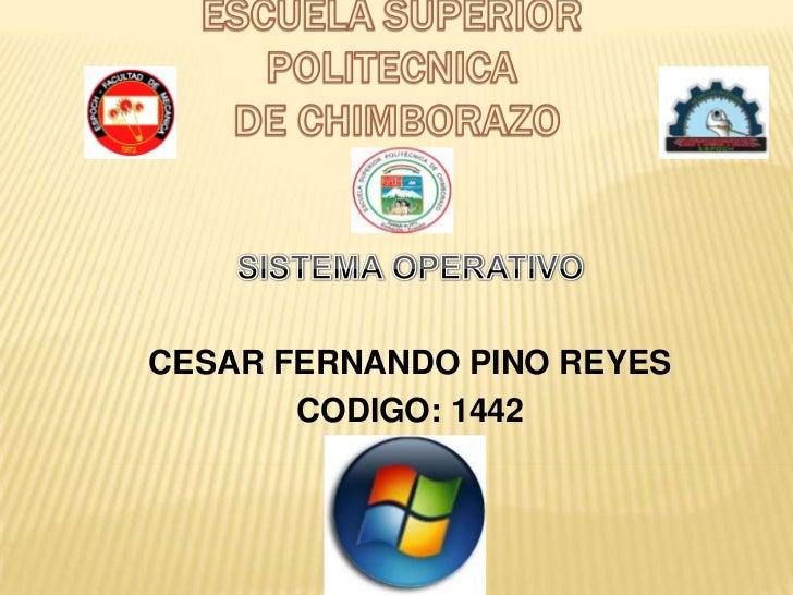 CESAR FERNANDO PINO REYES       CODIGO: 1442