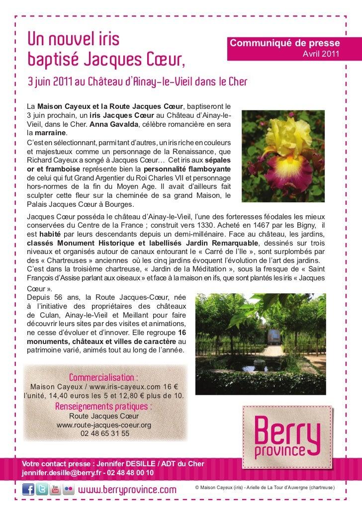 Un nouvel iris baptisé Jacques Coeur