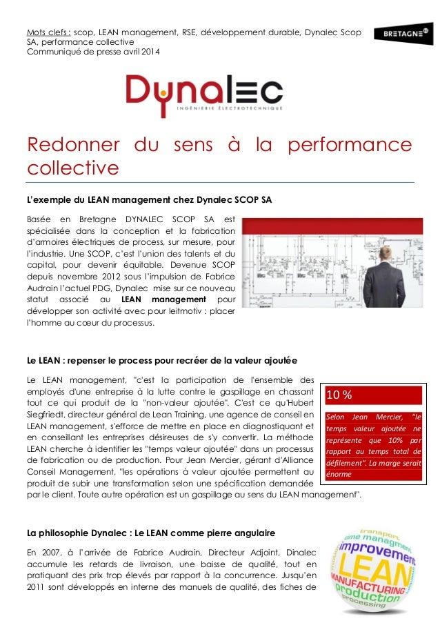 Mots clefs : scop, LEAN management, RSE, développement durable, Dynalec Scop SA, performance collective Communiqué de pres...