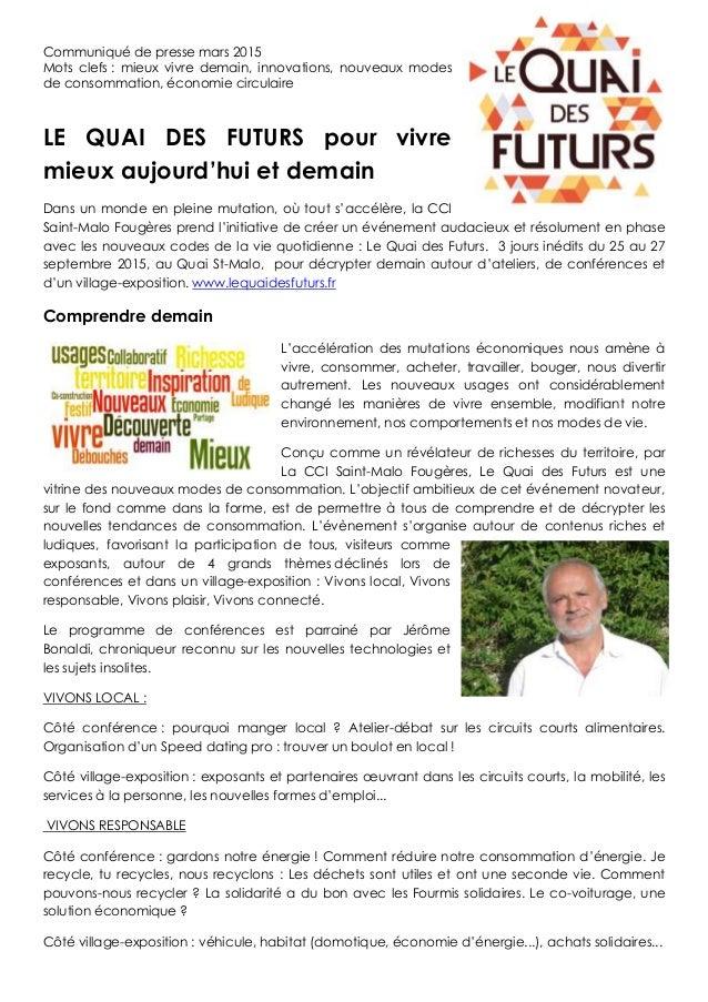 Communiqué de presse mars 2015 Mots clefs : mieux vivre demain, innovations, nouveaux modes de consommation, économie circ...