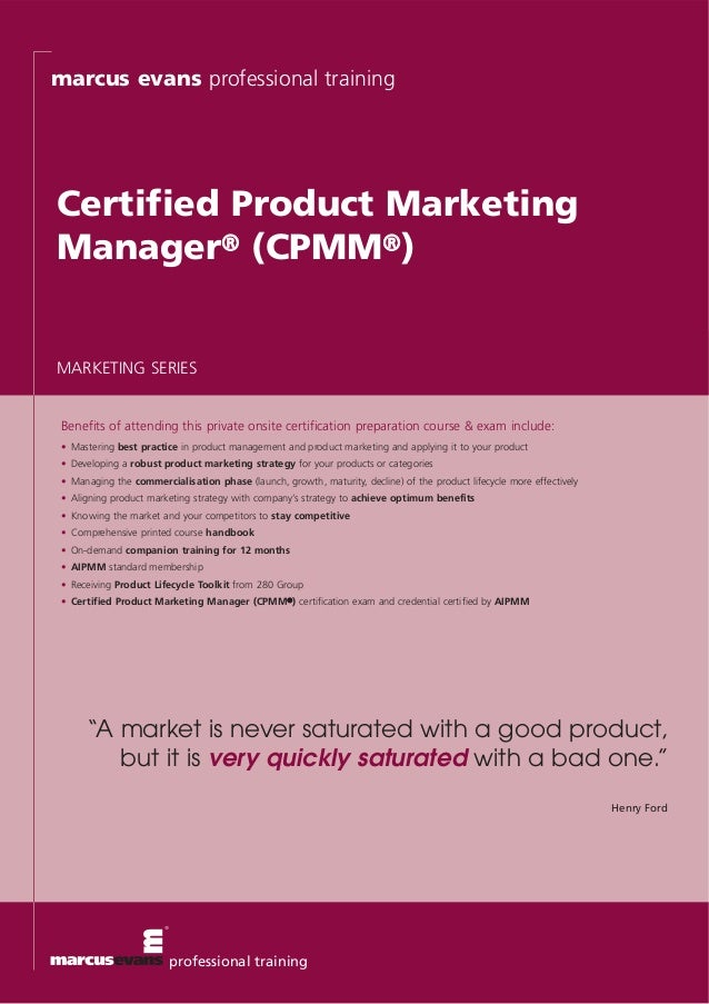 marcus evans professional training Certified Product Marketing Manager® (CPMM®) Benefits of attending this private onsite ...