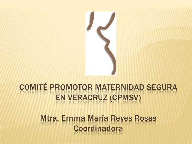 COMITÉ PROMOTOR MATERNIDAD SEGURA        EN VERACRUZ (CPMSV)    Mtra. Emma María Reyes Rosas            Coordinadora