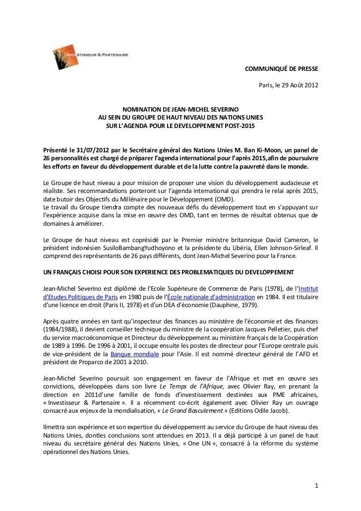 COMMUNIQUÉ DE PRESSE                                                                                  Paris, le 29 Août 20...