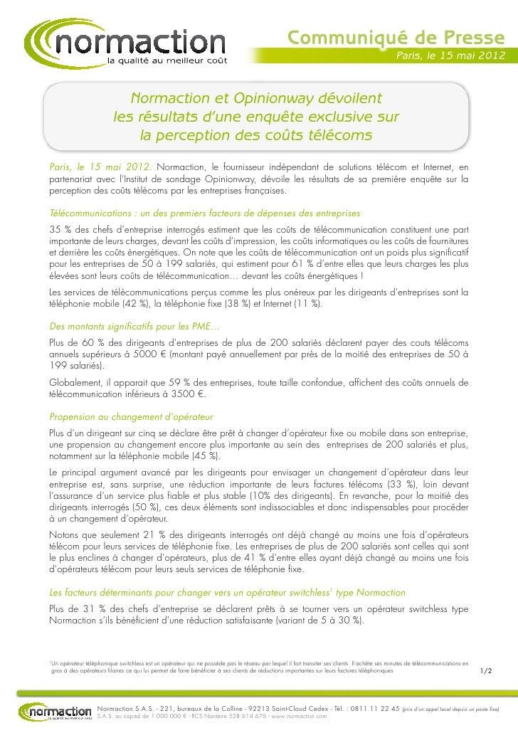 Cp normaction   perception des coûts télécoms