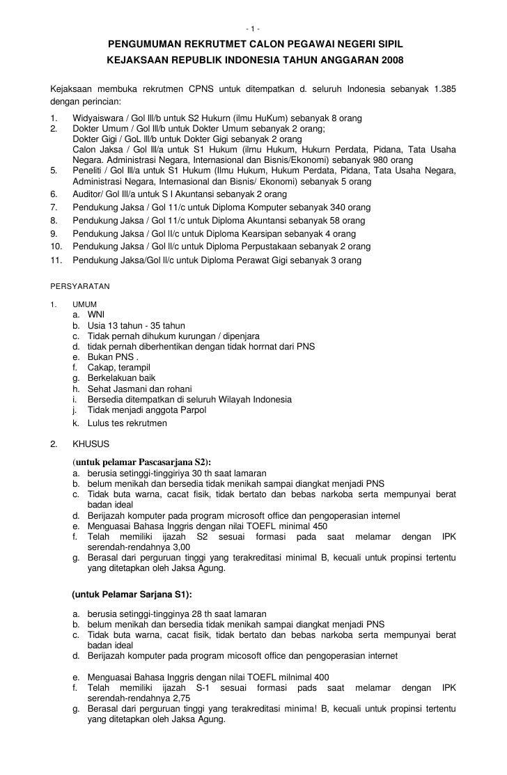 -1-                 PENGUMUMAN REKRUTMET CALON PEGAWAI NEGERI SIPIL                KEJAKSAAN REPUBLIK INDONESIA TAHUN ANGG...