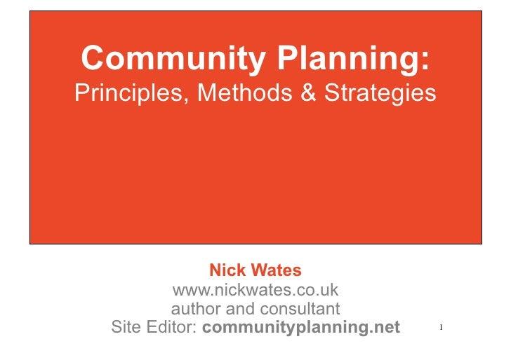 Community Planning: Principles, Methods and Strategies