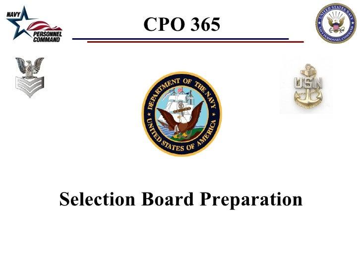 CPO Selection Board Brief 2012 (FY2013)
