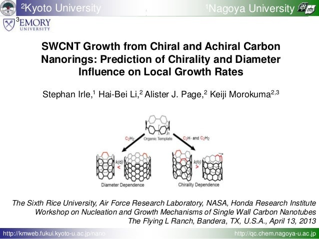 SWCNT Growth from Chiral and Achiral Carbon Nanorings: Prediction of Chirality and Diameter Influence on Local Growth Rate...
