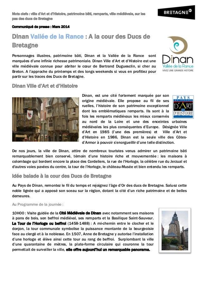 Mots clefs : ville d'Art et d'Histoire, patrimoine bâti, remparts, ville médiévale, sur les pas des ducs de Bretagne Commu...