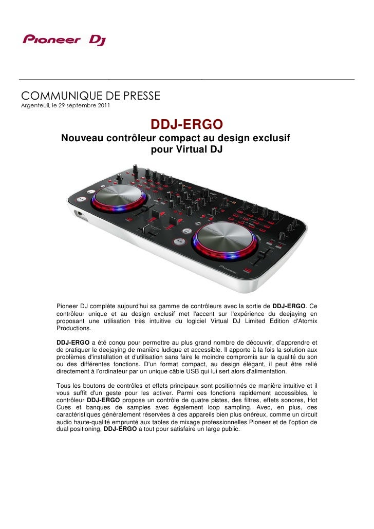 COMMUNIQUE DE PRESSEArgenteuil, le 29 septembre 2011                                              DDJ-ERGO              No...