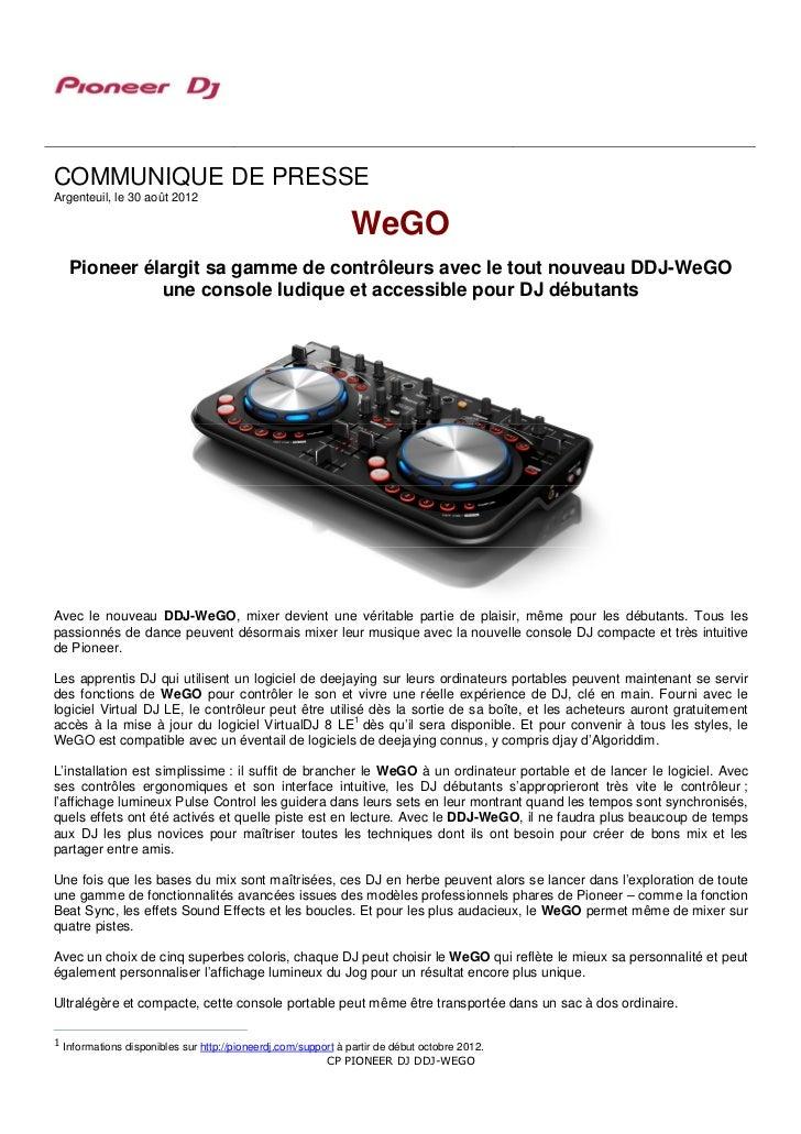 COMMUNIQUE DE PRESSEArgenteuil, le 30 août 2012                                                              WeGO   Pionee...