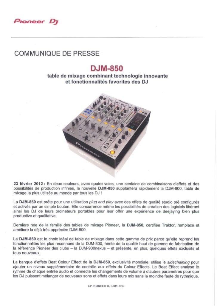 DJM-850 : nouvelle table de mixage incluant, en 1ere mondiale, la banque d'effets Beat Colour Effect