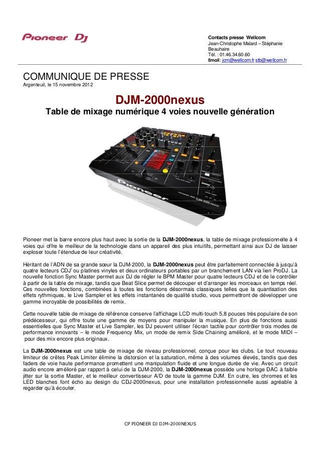DJM-2000nexus, table de mixage 4 voies numérique professionnelle nouvelle génération