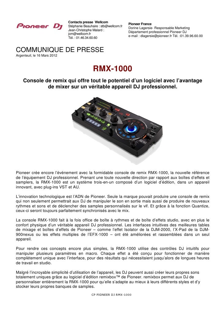 Contacts presse Wellcom                                                                     Pioneer France                ...