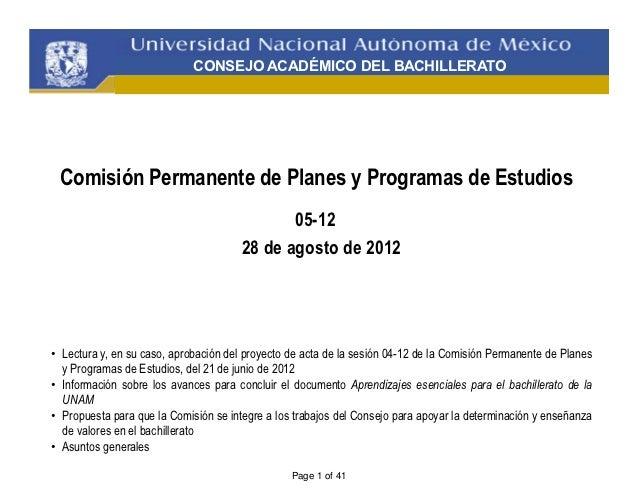 CONSEJO ACADÉMICO DEL BACHILLERATO Comisión Permanente de Planes y Programas de Estudios                                  ...