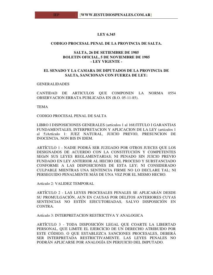 IEP          [WWW.IESTUDIOSPENALES.COM.AR]                                   LEY 6.345         CODIGO PROCESAL PENAL DE LA...