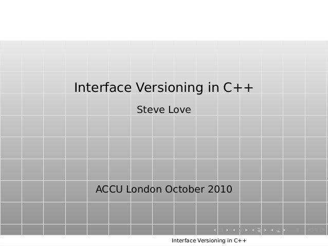 Interface Versioning in C++ Steve Love ACCU London October 2010 Interface Versioning in C++