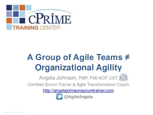 A Group of Agile Teams ≠ Organizational Agility Angela Johnson, PMP, PMI-ACP, CST Certified Scrum Trainer & Agile Transfor...