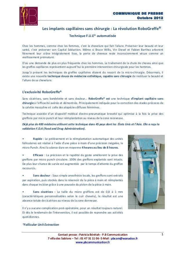 COMMUNIQUE DE PRESSE Octobre 2012 Contact  presse  :  Patricia  Bénitah  -‐  P.B  Communication   7  vi...