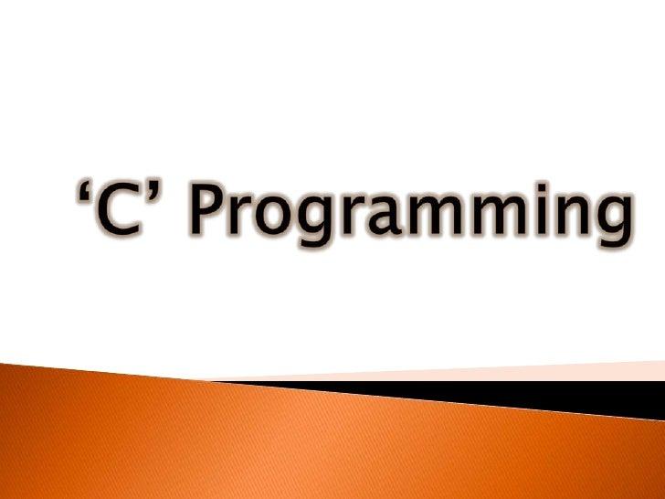 'C' Programming<br />
