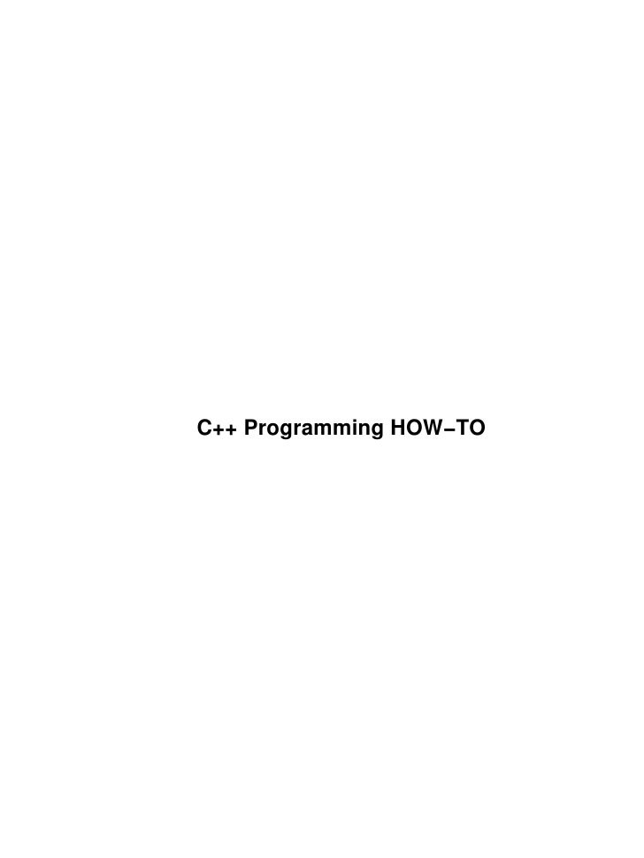C++ Programming HOW−TO