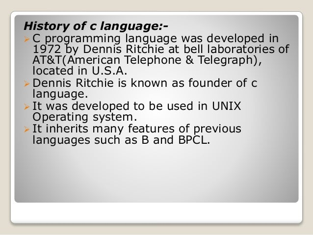 an analysis of the programming language developed by dennis ritchie This ebook is the first authorized digital version of kernighan and ritchie's 1988 classic, the c programming language (2nd ed) one of the best-selling programming books published in the last fifty years, k&r has been called everything from the bible to a landmark in computer science and it has influenced generations of programmers.