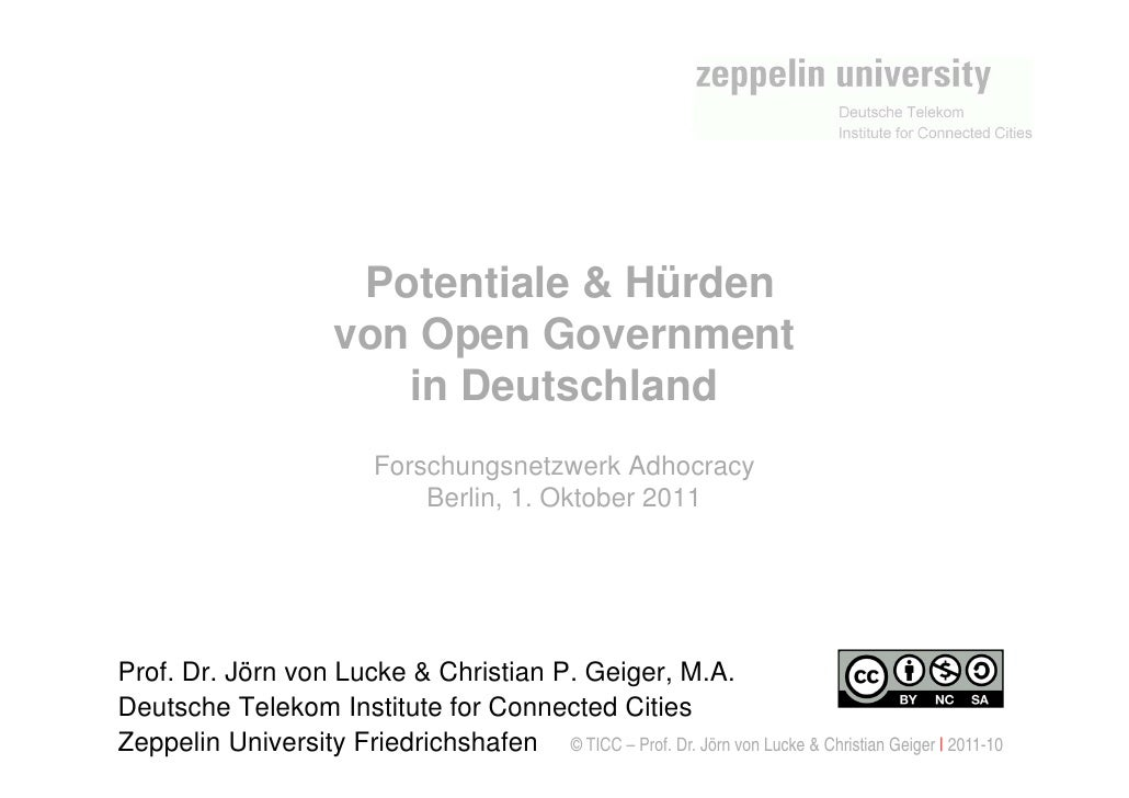 Potentiale & Hürden                       von Open Government                          in Deutschland                     ...