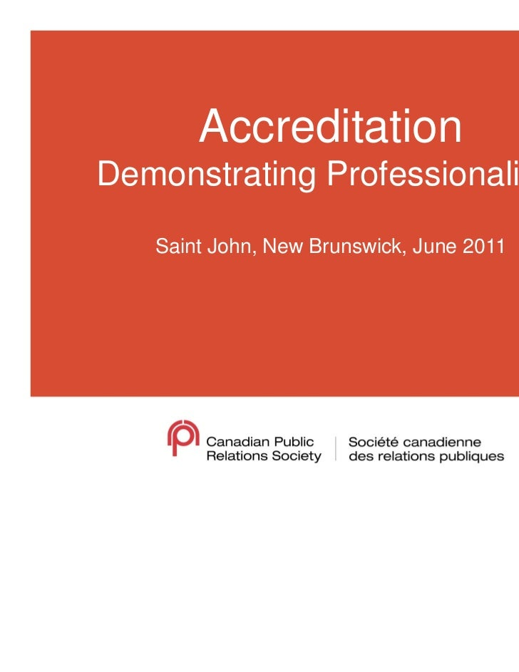 Accreditation Demonstrating Professionalism