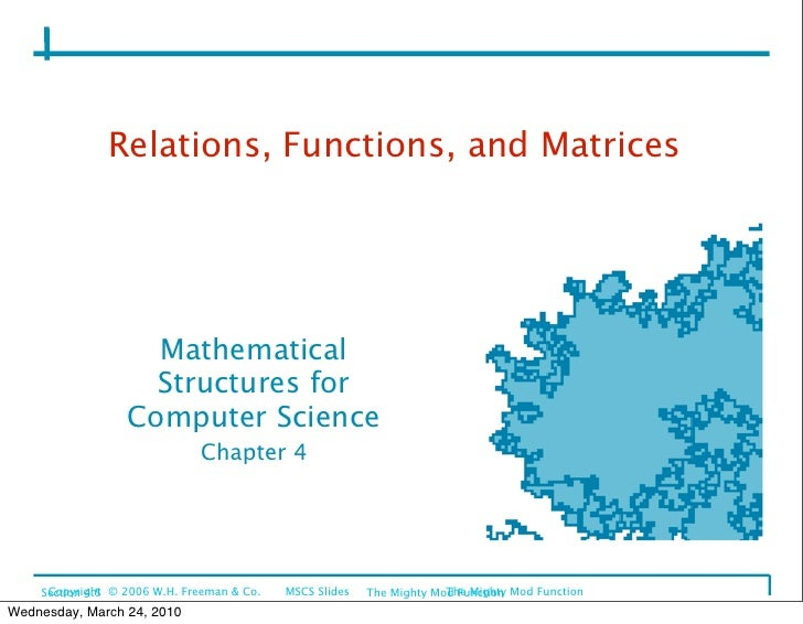 Relations, Functions, and Matrices                         Mathematical                     Structures for                ...