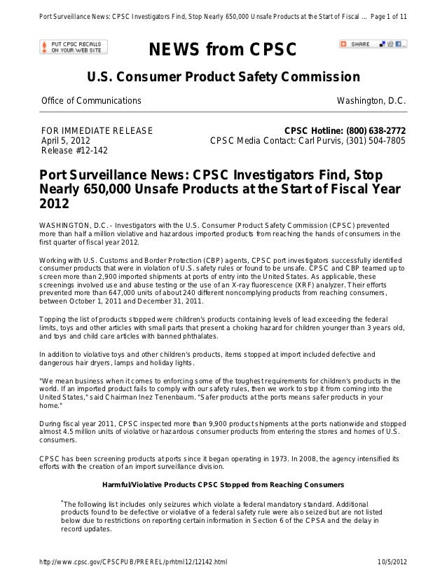 Port Surveillance News: CPSC Investigators Find, Stop Nearly 650,000 Unsafe Products at the Start of Fiscal ... Page 1 of ...